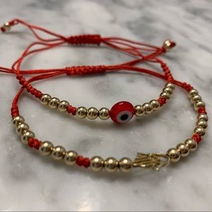 2 Gold Plated Beaded Bracelets